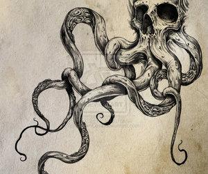 skull, octopus, and tattoo image