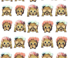 monkeys, flower crowns, and smiley image