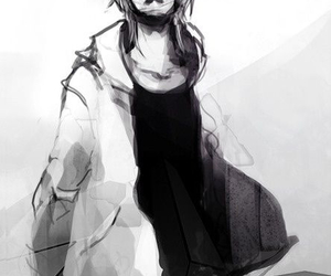 anime, boy, and black and white image