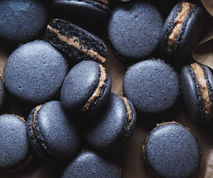 food, black, and macaroons image