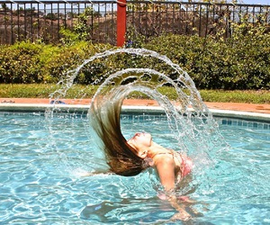 photography, pool, and hair flip image