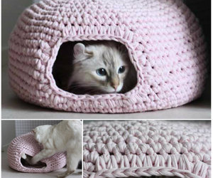 crafts, crochet, and cat cave image