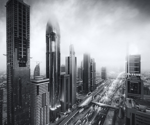 black and white, city, and town image