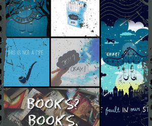 blue, books, and Collage image