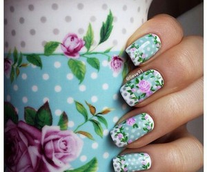 floral, nails, and vintage image