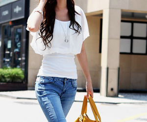 girl, jeans, and skinny image