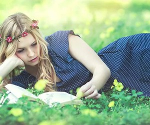 blond, blue, and book image
