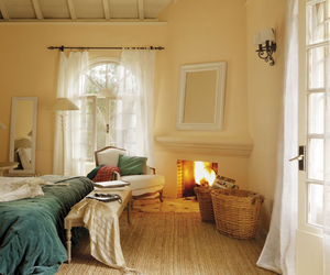 bedroom, fireplace, and bed image