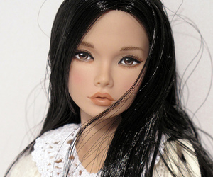 barbie, black hair, and doll image