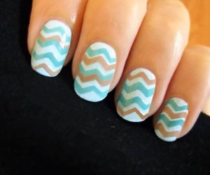 nails, blue, and chevron image