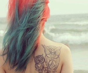 hair, beach, and tattoo image