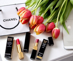 chanel, flowers, and lipstick image