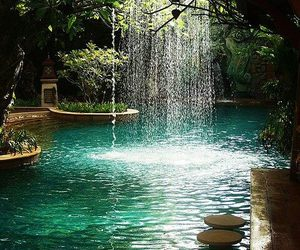 water, waterfall, and nature image