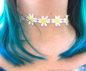 flowers, blue, and blue hair image