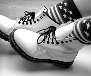 american flag, shoes, and black image