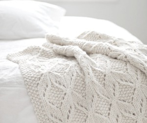 white, bed, and blanket image