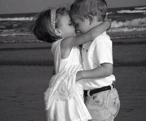 love, kiss, and beach image