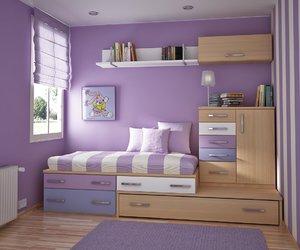 purple, room, and bedroom image