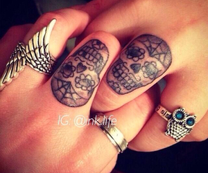 best friends, skull tattoos, and matching tattoos image
