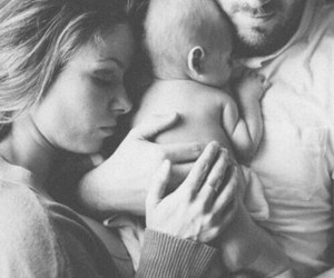 baby, couple, and black and white image