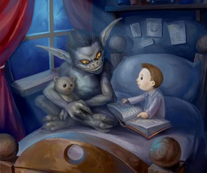 monster, book, and child image