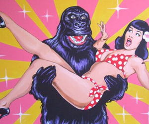 gorilla, Bettie Page, and illustration image