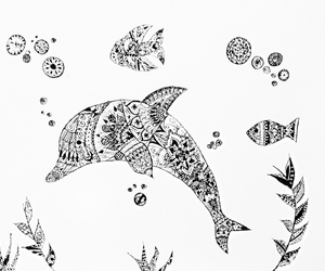 art, dolphins, and doodle image