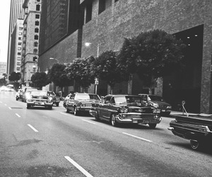 black and white, car, and street image