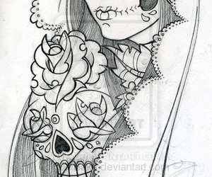 alternative, candy skull, and drawing image