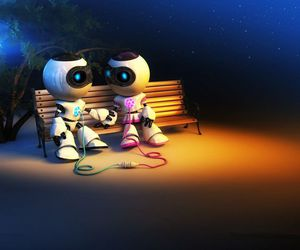robot, love, and together image