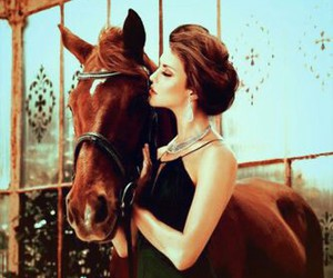 horse, dress, and woman image