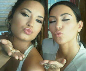 demi lovato, kim kardashian, and kiss image