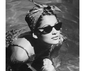vintage, black and white, and pool image