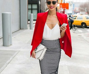 pencil skirt, red blazer, and white tank image