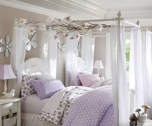 bedroom, lilac, and white image