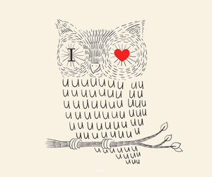 owl, heart, and drawing image