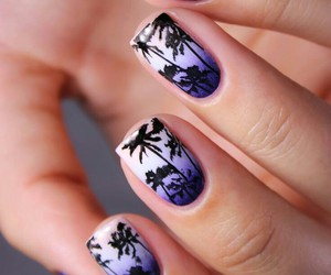 nails, palm trees, and beach image
