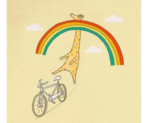 rainbow, giraffe, and bicycle image