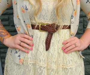 belt, blonde hair, and curly image