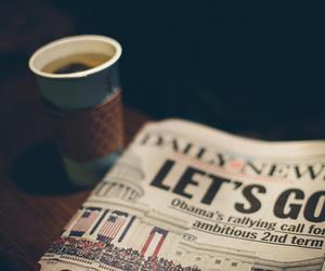coffee, newspaper, and vintage image