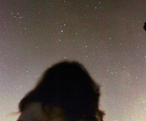 stars, girl, and sky image