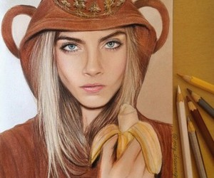 cara delevingne, model, and monkey image