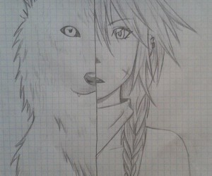 draw, girl, and wolf image