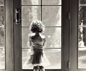 black & white and little girl image