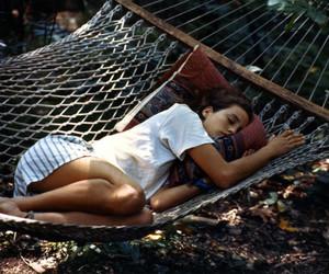girl, sleep, and hammock image