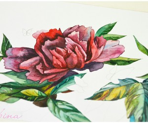 aquarelle, red, and art image