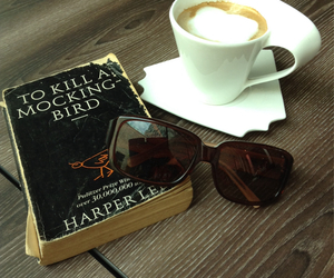 book, coffee, and sunglasses image