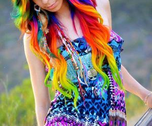 hair, rainbow, and rainbow hair image