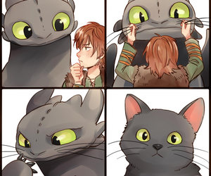 how to train your dragon, cat, and toothless image