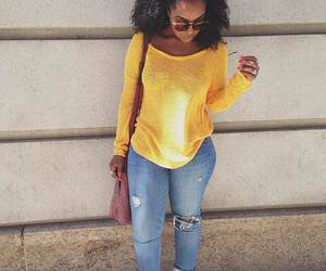 black woman, denim, and casual image